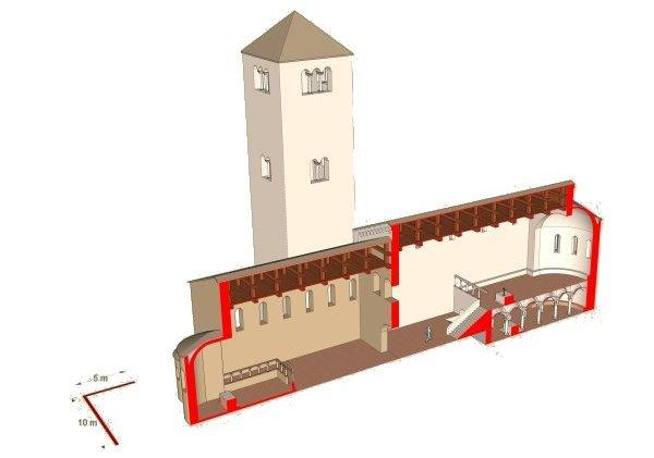 ricostruzione chiesa abbaziale del 900 dc - nuovo